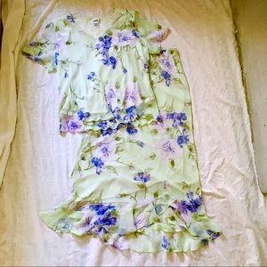 Short Sleeve Top Maxi Skirt Set Mint Poly Sz20 $30